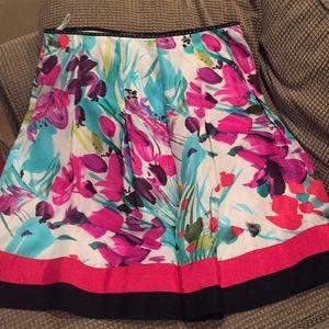 Nygard floral silk pleated skirt